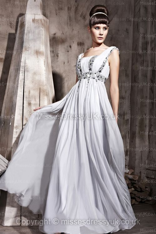 A-line Square Chiffon Floor-length Silver Beading Evening Dress