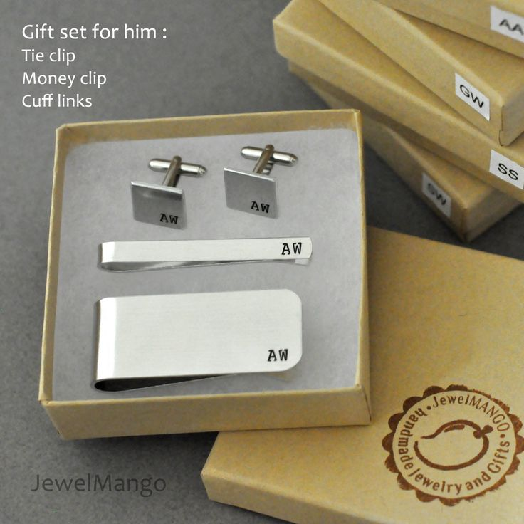 Gift for him, Groomsmen gifts, Personalized gifts, Custom gift for him, initials, monogram, money clip, credit card, tie clip, cufflinks by JewelMango on Etsy