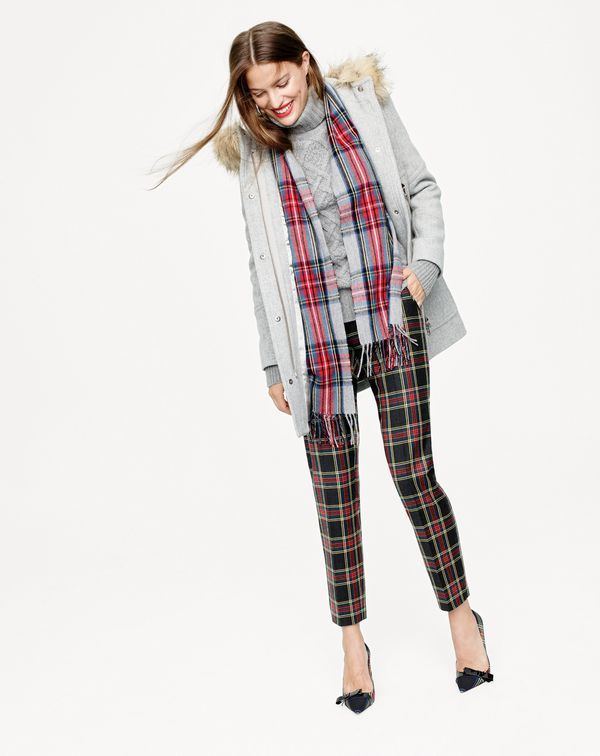 J.Crew women's chateau parka in stadium-cloth, Martie pant in Stewart plaid, and Colette bow pumps in plaid.