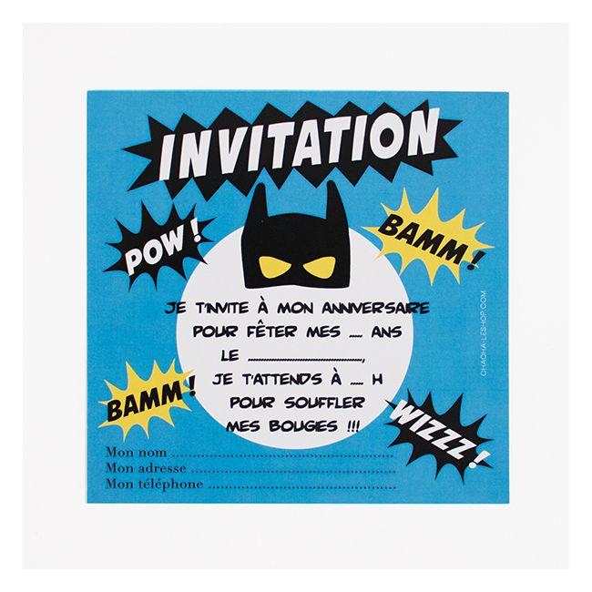 8 cartons d'invitation super-héros