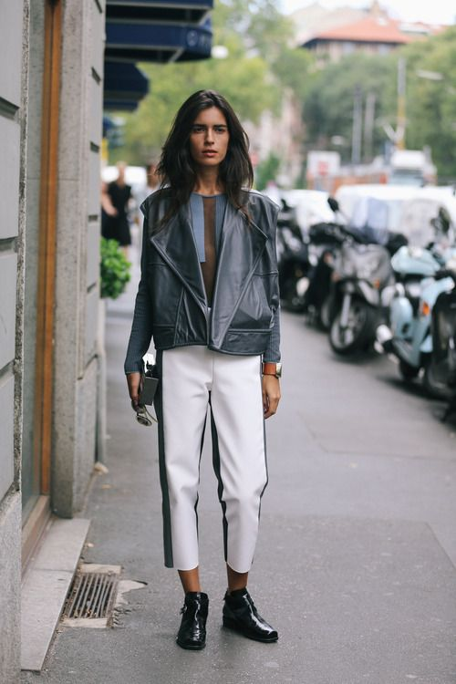 We're smitten with this monochrome meets future leather look is.