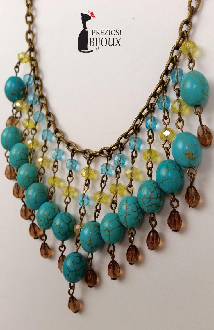 Coll. Lucrezia, collana corta con perle in polvere di turchese e cristalli. Color bronzo. di PreziosiBijoux su Etsy