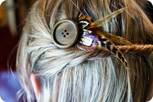 Bohemian Chic Hair Pin  1. Hot Glue Gun  2. Feathers (Ring Tail Pheasant and Saddle Hackle)  3.Bobby Pin (or Alligator Clip)  4. Scissors  5. 2x2in square of felt  6. Button (pictured is a 1.5inch diameter wood button)