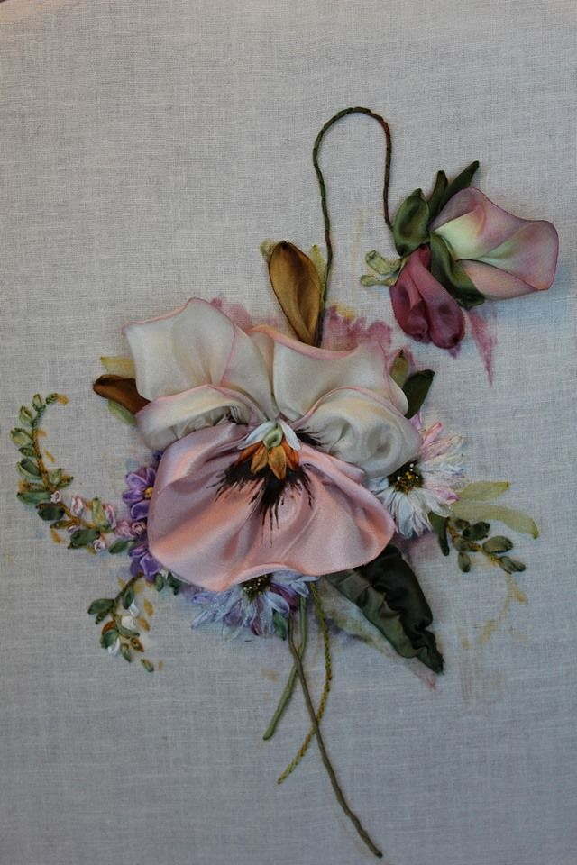 Silk ribbon embroidery flower
