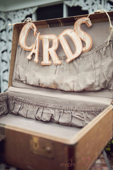 Old vintage trunks and suitcases are PERFECT for collecting all of your wedding cards. Kirsty x