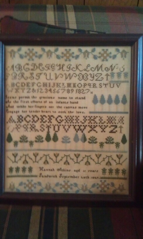 Hannah Atkins from Sandwich, Mass.  Chart by R & R Reproductions.: Michigan Sampler, Reproduction Samplers, Beautiful Samplers, Stitches Patterns Samples, Crosses Stitches, Samplers Stitches, Stitches Sampler, Antiques Needlework, Stitchery Antique Samplers