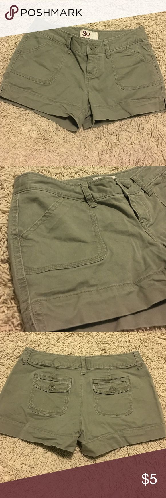 Olive green cargo shorts These olive green cargo short shorts are simple and great for everyday attire in the warmer seasons! SO Shorts Cargos