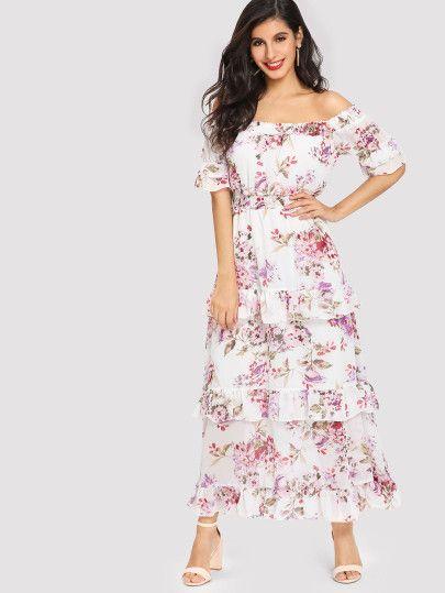 20ad7b03ce Shop Shirred Waist Ruffle Trim Botanical Dress online. SheIn offers Shirred  Waist Ruffle Trim Botanical Dress & more to fit your fashionable needs.