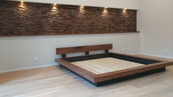 King Queen Real Walnut Asian Japanese Floating Style Platform Bed Solid Wood Hand Rubbed Satin Finish No