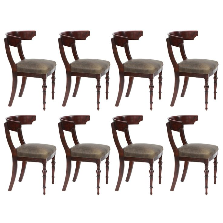 Eight Incredible Mahogany & Leather Klismos Dining Chairs