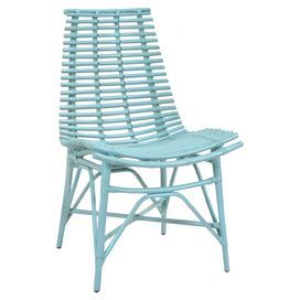"""Featuring a gently curving bamboo frame, this island-inspired side chair is the perfect addition to your covered porch or lanai.   Product: ChairConstruction Material: BambooColor: Sky blueFeatures:Curved designIsland-inspired design19"""" Seat heightDimensions: 42"""" H x 22"""" W x 19"""" D"""