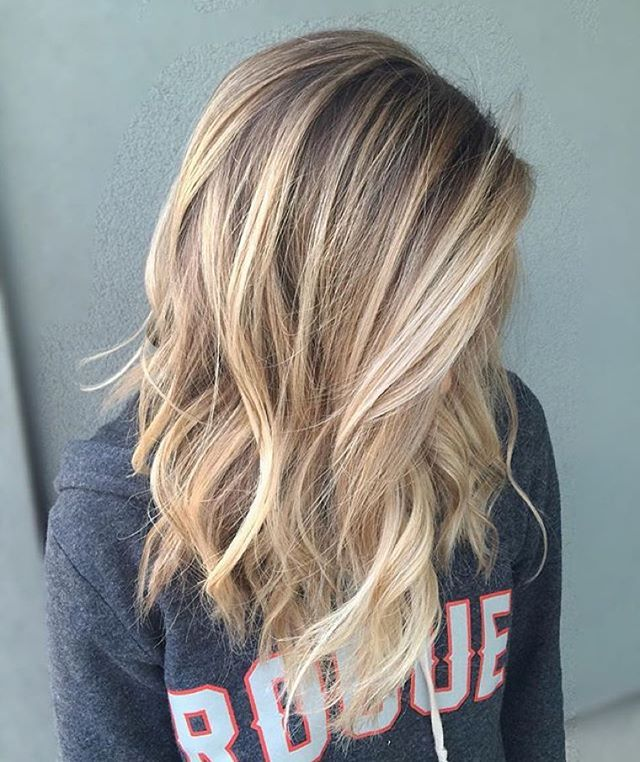 balayage and babylights on this blonde lob :: RedBloom Salon