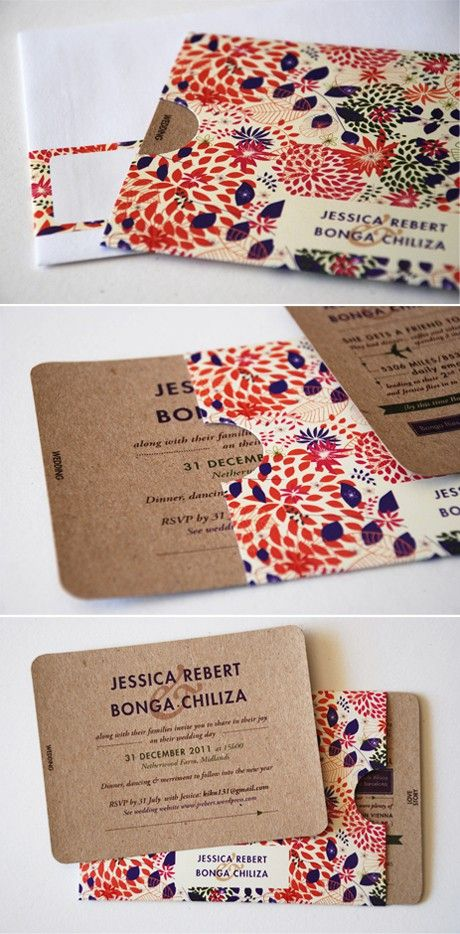 wedding invitation - love the floral sleeve