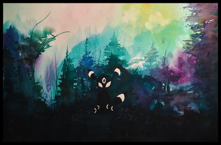 Umbreon watercolour fanart. #pokemon #pokemonart