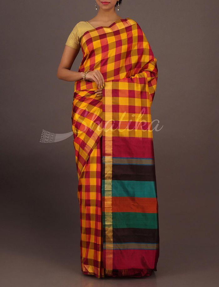 Asha Splendorous Checks Multi Hue Pallu Contemporary #SoftSilkSaree