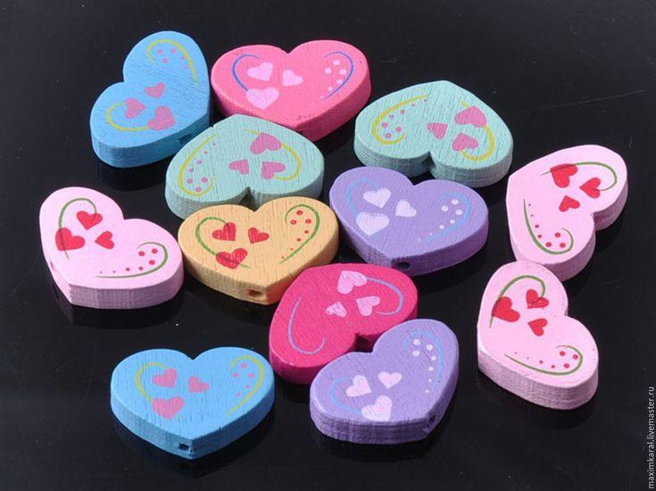 Купить Скидка 10% Бусины деревянные детские Сердечки - бусины, бусины для украшений, бусины для бижутерии