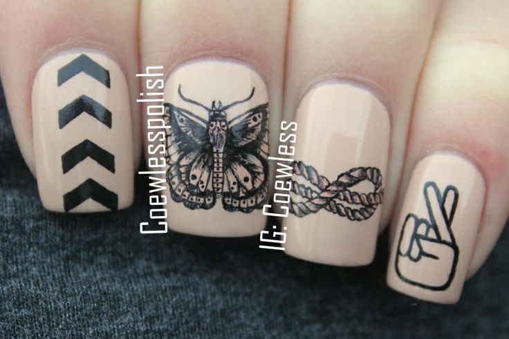 one direction black and nude nails