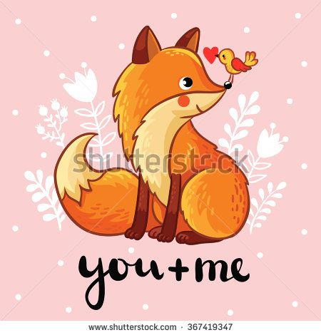 """Vector illustration of a cute fox and bird on a pink floral background. Perfect for greeting cards for Valentine's Day. Vector greeting card """"you and me""""."""