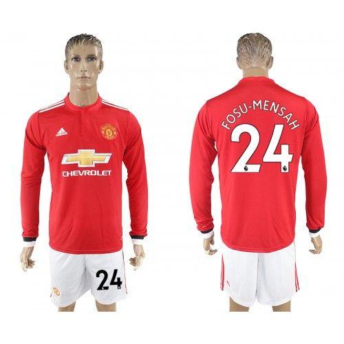 2017-2018 Fußball Trikot Manchester United 24 Fosu-Mensah Home Adidas Rot Weiß Trikotsatz Fussball Trikots
