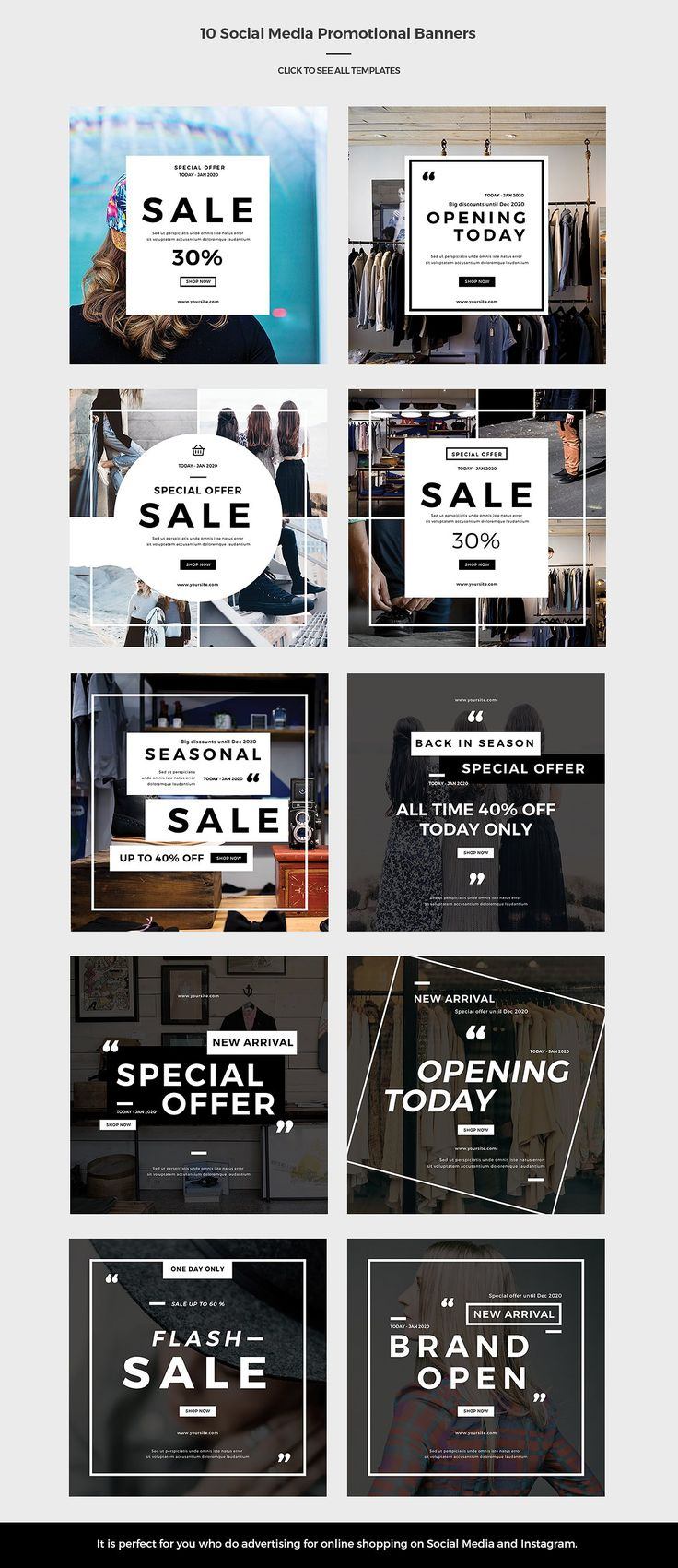 Social Media Promotional Banners by Hello.space on @creativemarket