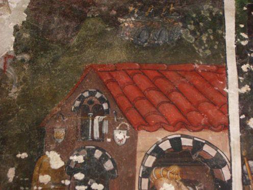 Cappella di Niella Tanaro. Il Miracolo di Santo Domingo della Calzada -In alto: pellegrini in viaggio con cappello e bordone. A sinistra un cavallo. Il resto dell'affresco è mancante.