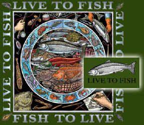 Ray Troll live to fish fish to live fish humor t-shirt