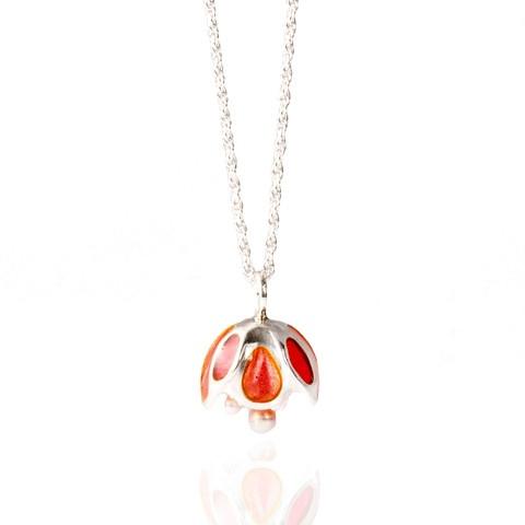 """Sweet Pink enamel Blossom"" necklace. Sterling silver. plique a jour enamel. fresh water pearls."