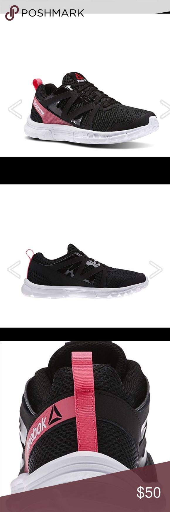 """Reebok women's run supreme athletic shoes blk/pin Low-cut, athletic silhouette Breathable sandwich mesh upper with quarter straps for light support Lace-up vamp Back heel pull tab Stretchable mesh lining MemoryTech massage insoles molded for optimal support Rubber compound in heel and forefoot for traction 3D UltraLite foam soles with forefoot flex grooves for flexibility. Heel height 1"""". Color: black/pink Reebok Shoes Athletic Shoes"""