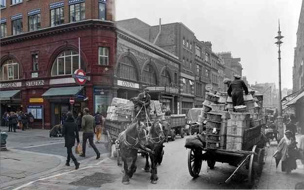 Covent Garden c.1930 and 2014. | 16 Ghostly Hybrid Images Of London Old And New