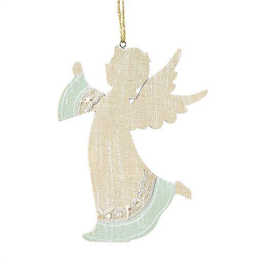 Χριστουγεννιάτικος άγγελος κρεμαστός ύψους 17cm