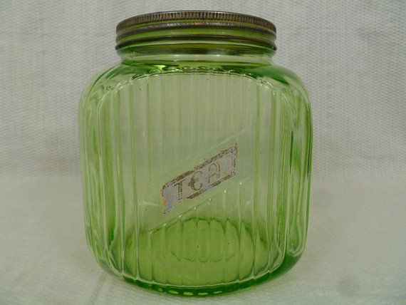 Perfect Vintage Green Glass, Large Kitchen Hoosier Canister, Depression Era, Kitsch