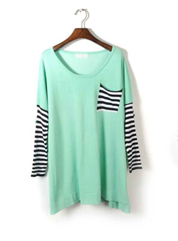 Striped Sweater: Bats Sleeve, Mint Green, Fashion, Dreams Closet, Teal Color, Stripes Sweaters, Cute Clothing, Striped Sweaters, Sleeve Stripes