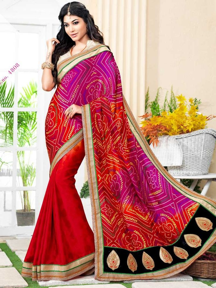 Red with Pink Bandhej Print Embroidered Bandhni Saree