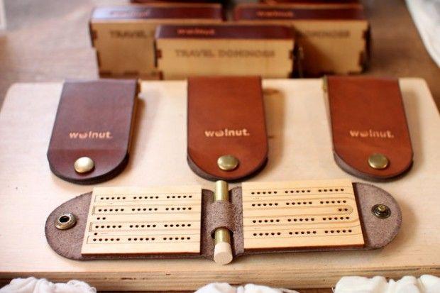 Pocket cribbage set –$45, Walnut Studio