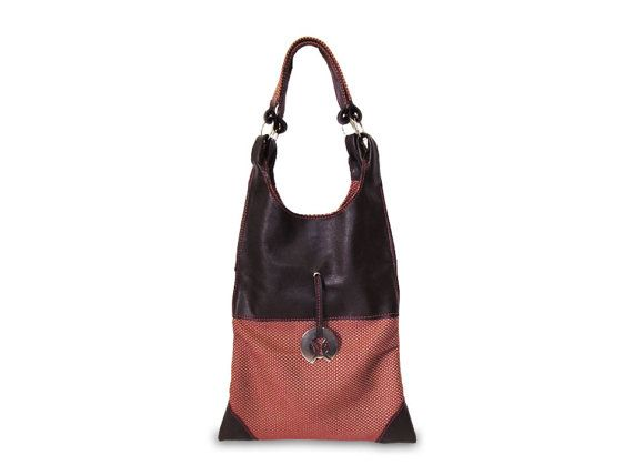 Chocolate goatskin leather and red cotton fabric. Elegant and ultralight women's bag. Gidran Step  the soft and elegant part of you by LovenBags on Etsy