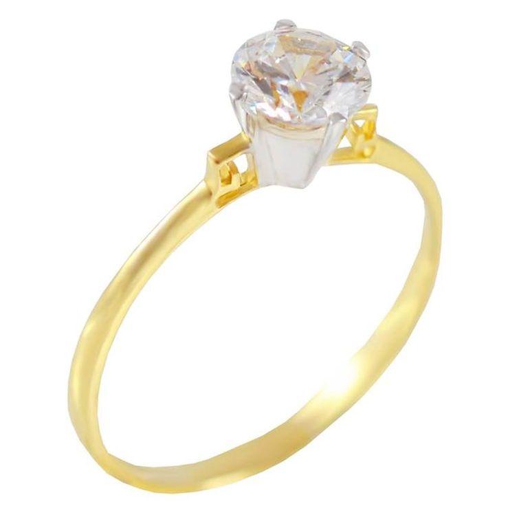 Μ156Ζ- Χρυσό μονόπετρο δαχτυλίδι με μαιάνδρους