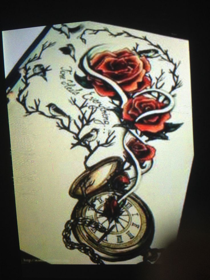 Rose Clock Tattoo Designs Drawing: 40 Best Clock Tattoos. ⌚️ Images On Pinterest
