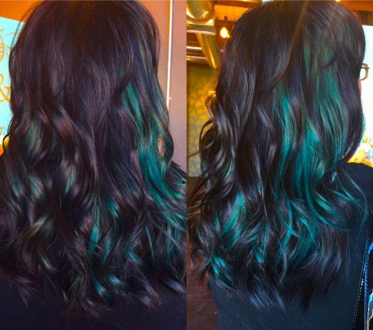 black and teal hair, green hair, peek a boo,  pravana vivids, www.facebook.com/shawnaindahlcosmo