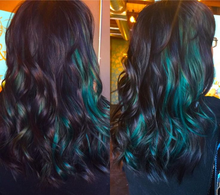black and teal hair, green hair, peek a boo,  pravana vivids, www.facebook.com/shawnaindahlcosmo
