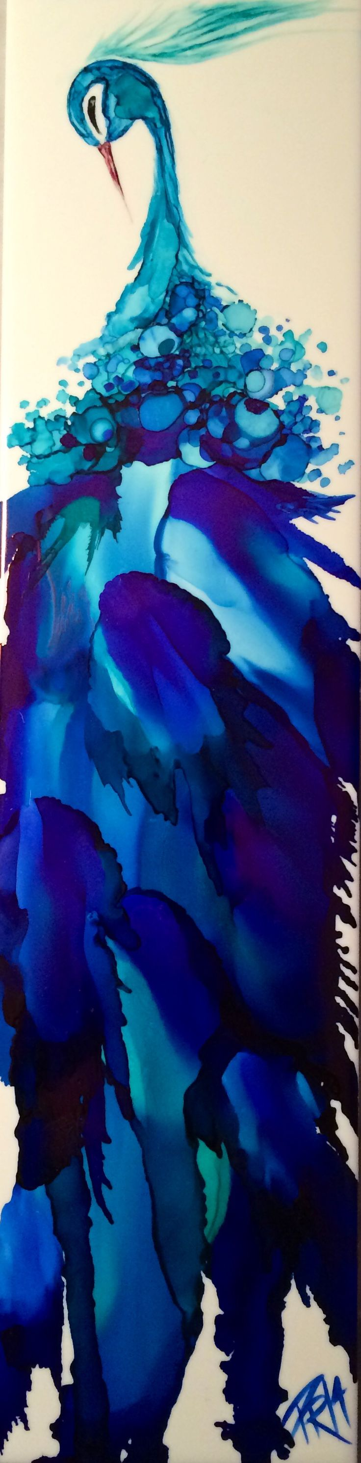 Indigo Peacock - by Pamella Radwan Alcohol Ink on ceramic tile