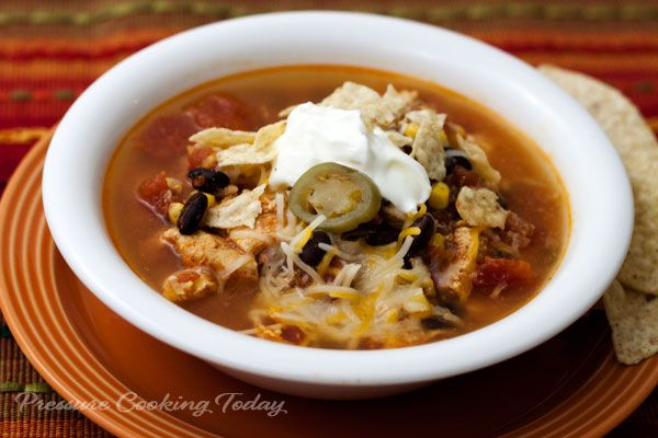 A quick to throw together chicken soup with a Mexican twist. It's loaded with chicken, black beans, corn, tomatoes, and salsa. Top it with your favorite Mexican cheese, sour cream, crushed tortilla chips and maybe ajalapenoor two.
