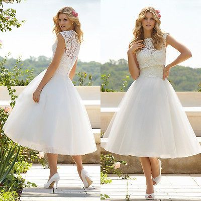 Tea Length Chiffon Lace Wedding Dress                                                                                                                                                      More