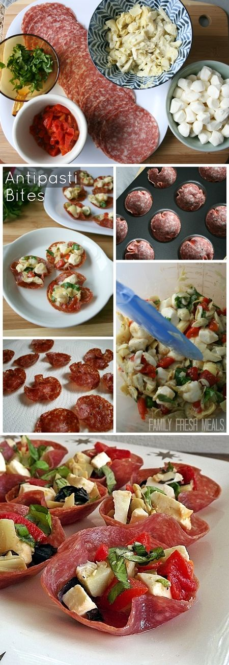 Antipasti Bites // I would put these in festive cupcake papers.