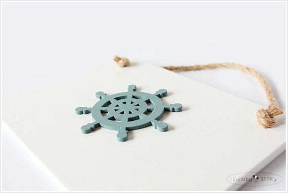 Wooden hand painted picture with ship wheel  Kids by LullabySTORY