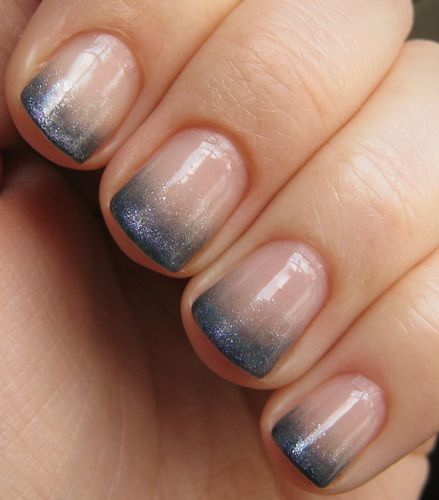 Blue ombre french manicure.