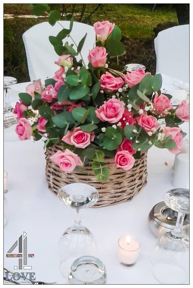 #chic #rustic #garden #γάμος, #centrepiece τραπεζιού #νεόνυμφων, ψάθινο καλάθι και aqua #τριαντάφυλλα και ευκάλυπτο - Floral Artist Ντίνος Μαβίδης & Concept Stylist Μάνθα Μάντζιου #4LOVEgr — στην τοποθεσία 4LOVEgr.