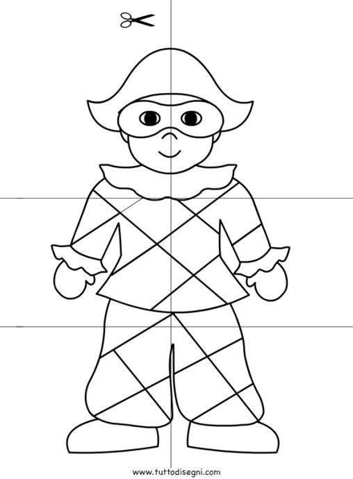 Scuola infanzia arlecchino carnaval pinterest for Arlecchino disegno da stampare