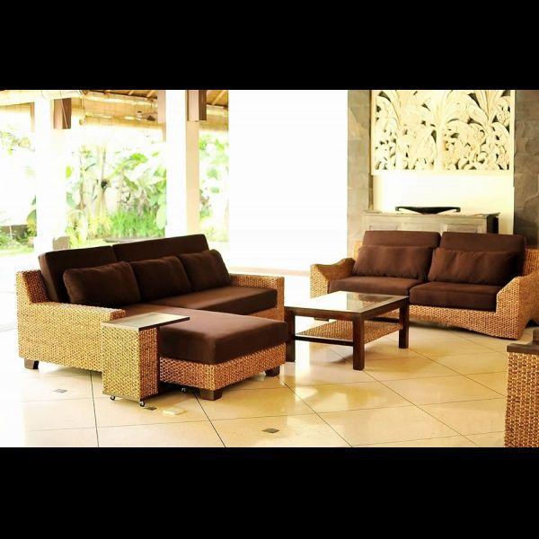 画像3: アジアン家具 ウォーターヒヤシンスを贅沢に使った3人掛けソファー (3)