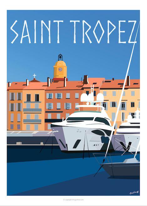 Port et Yachts en été Affiche faisant partie de la collection Saint Tropez