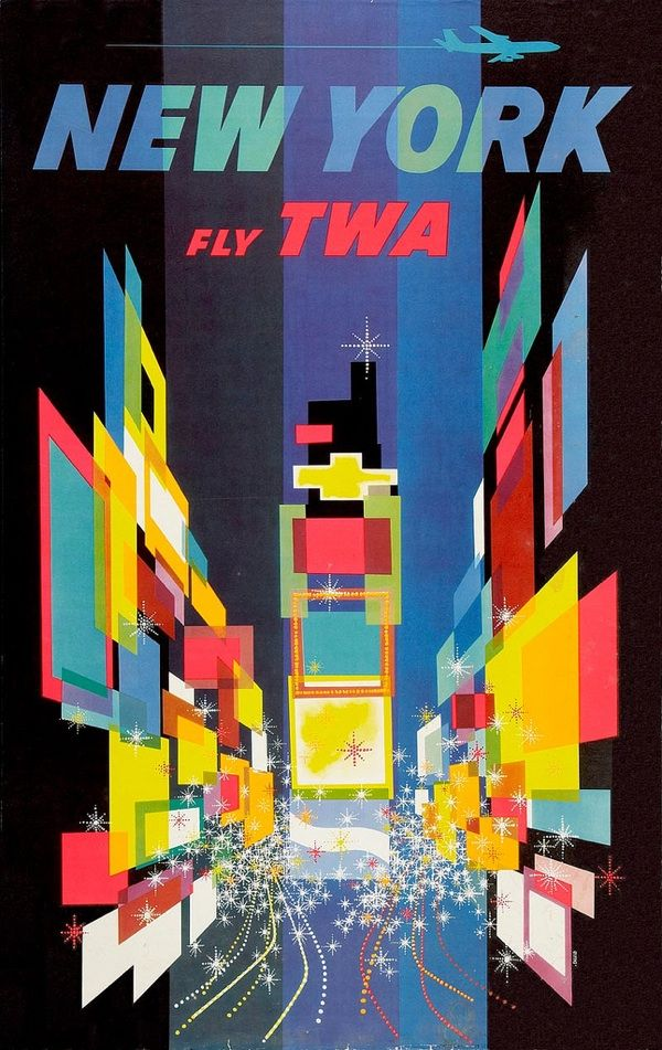 David Klein for TWA - Times Square, New York: Graphic Design, Travelposters, Vintage Poster, David Klein, New York, Vintage Travel, Travel Posters, Newyork